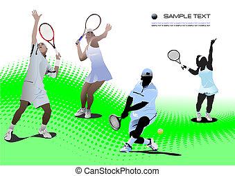 cuatro, jugadores, tenis