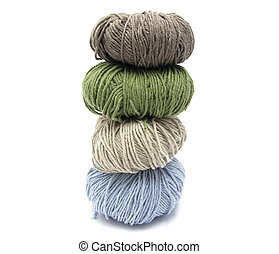 cuatro, lana, cosido grapa, pelotas