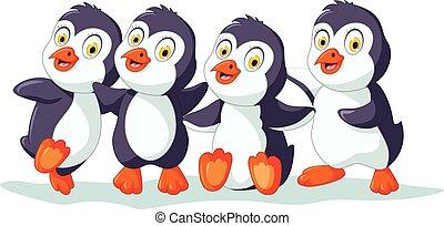 cuatro, lindo, pingüino