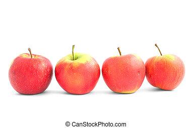 cuatro, manzanas, en, el, l