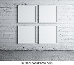 cuatro, marco, blanco