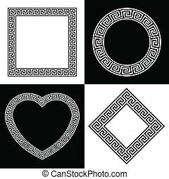 cuatro, marco, formas, griego, llave, frontera