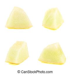 cuatro, melón, aislado, pedazos