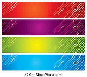 cuatro, multicolor, banderas