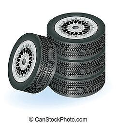 cuatro, neumáticos