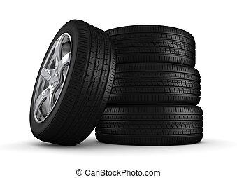 cuatro, neumáticos, primer plano, aislado