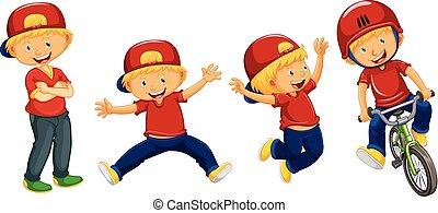 cuatro, niños, camisa, acciones, rojo