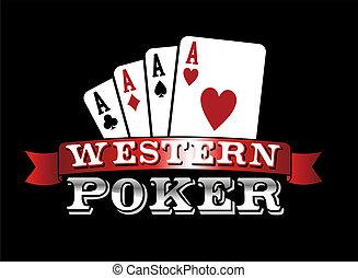 cuatro, póker, aces., icono