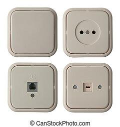 cuatro, pared subida, eléctrico, placas