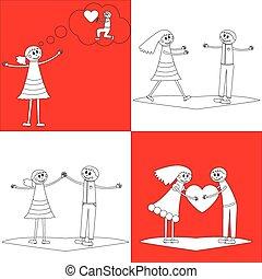 cuatro, parejas felices, en, garabato, estilo