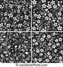cuatro, patrones, flor, seamless