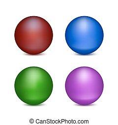 cuatro, pelotas, coloreado
