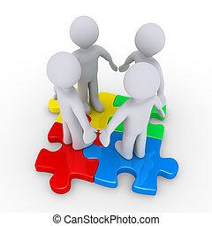 cuatro personas, en, coloreado, artículos del rompecabezas