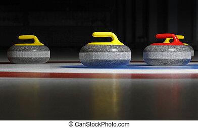 cuatro, piedras, curling