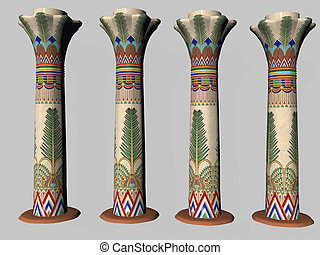 cuatro, pilar, egipcio