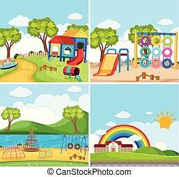 cuatro, plano de fondo, escenas, con, patio de recreo, en el parque
