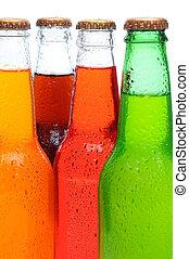 cuatro, primer plano, botellas, soda