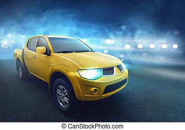 cuatro puerta, amarillo, camioneta, con, oscuridad, concreto