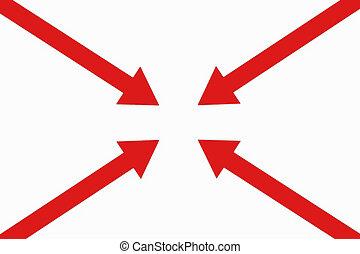 cuatro, punto, flechas, Uno