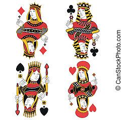 cuatro, reinas, tarjeta, no