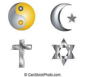 cuatro, relig, vector, plata, iconos