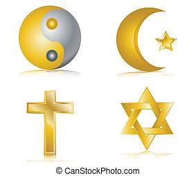 cuatro, religión, brillante, oro, iconos