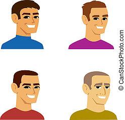 cuatro, retrato, macho, avatar, caricatura