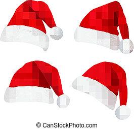 cuatro, rojo, santa, hats.