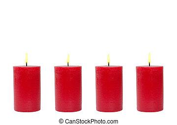 cuatro, rojo, velas, fondo blanco