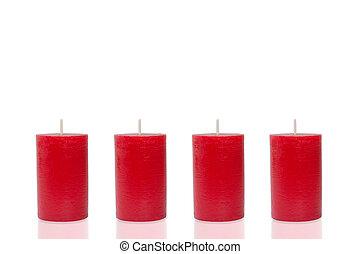 cuatro, rojo, velas, none, quemaduras