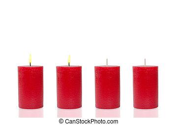 cuatro, rojo, velas, quemadura