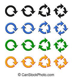 cuatro, rotación, flecha, conjunto