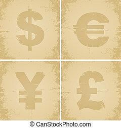 cuatro, símbolo moneda