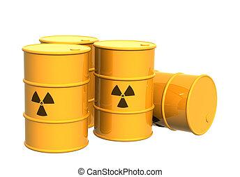 cuatro, símbolo, radioactivo, tanques, amarillo