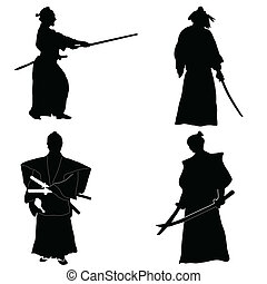 cuatro, samurai, siluetas