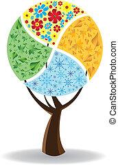cuatro, seasons., arte, árbol