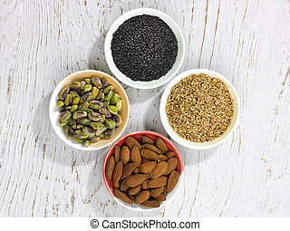 cuatro, semillas, nueces, tazones