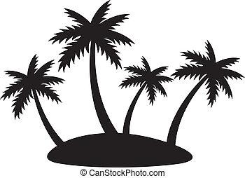 cuatro, silueta, palmas