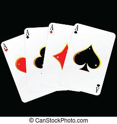 cuatro, tarjetas, vector, as, ilustración