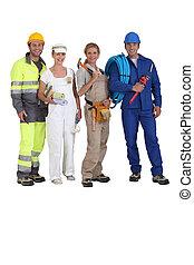 cuatro, trabajadores, trueques, diferente
