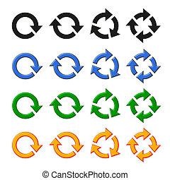 cuatro, vector, flecha, rotación, conjunto