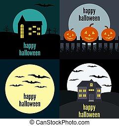 cuatro, vector, ilustraciones, para, halloween