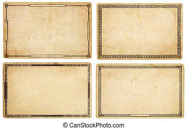 cuatro, viejo, tarjetas, con, fronteras decorativas