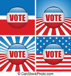 cuatro, voto, buttons., conjunto, plano de fondo