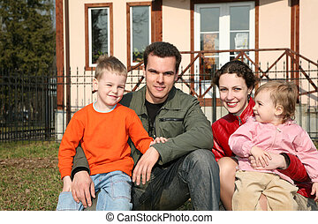 cuatro, yarda, familia , sentarse