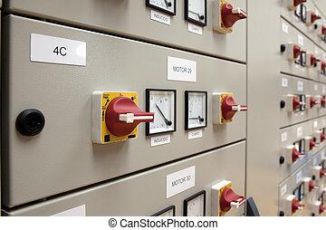 cubículos, eléctrico, panel