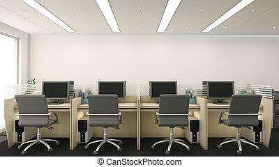 cubículos, oficina, 3d