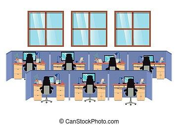 cubículos, trabajo, aislado, icono