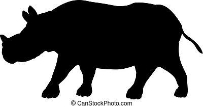 cub., joven, animal., poco, rinoceronte, lindo, silueta