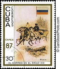 cuba, 1987:, vieux, cuba, timbre, -, Véhicules,...
